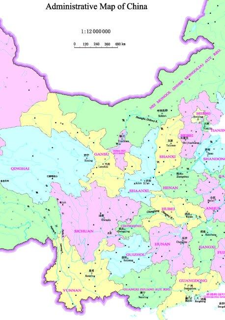 中国地图彩色-英文版