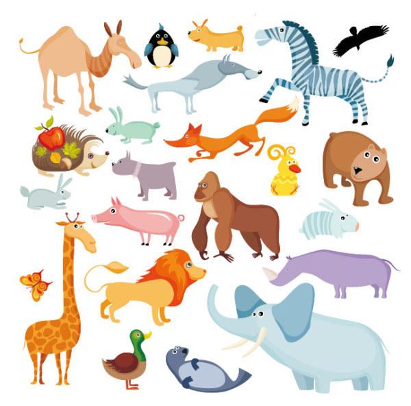 刺猬 鸭子 狮子 海豹 兔 长颈鹿 猪 卡通动物 矢量素材 蝴蝶 狗 狼 鸡