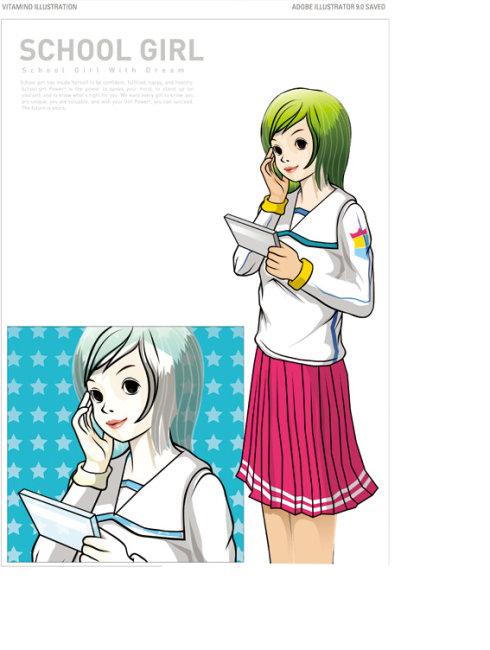 校园女孩 卡通女孩 卡通美少女 卡通美女 长发女孩 矢量女孩 单车 卡