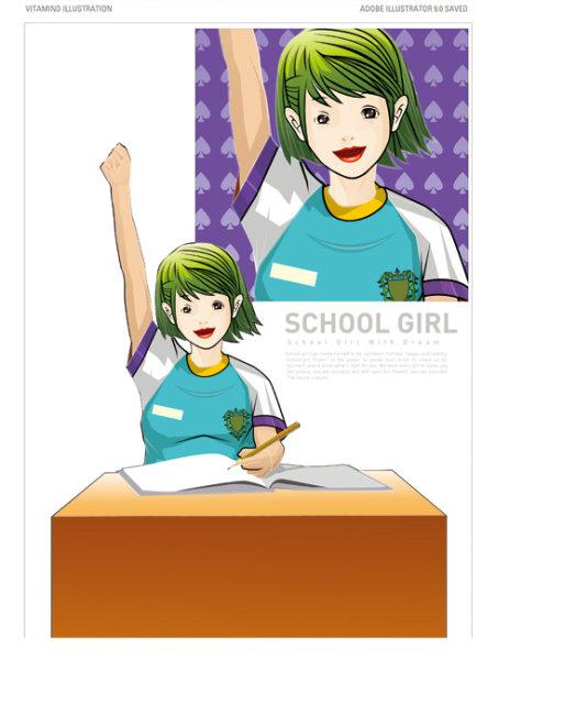 校园女孩 卡通女孩 卡通美少女 卡通美女 长发女孩 矢量女孩 单车