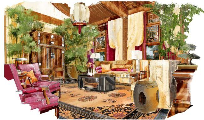 室内手绘效果图家居装饰素材免费下载-千图网www.58.