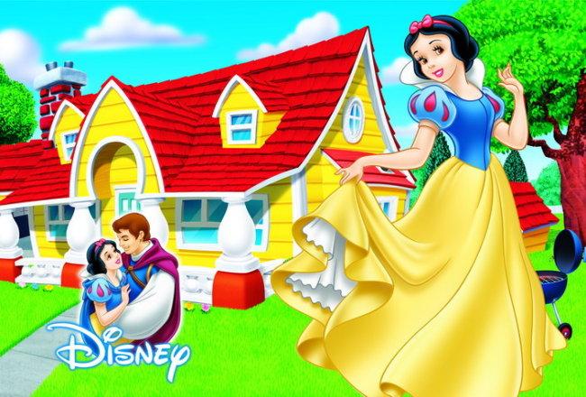 白雪公主 王子 白马王子 卡通公主 迪士尼卡通 卡通木屋 卡通房子