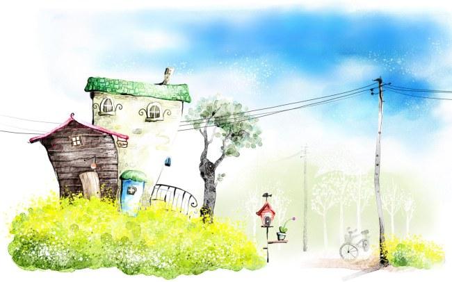 浪漫的韩国手绘矢量风景高清图片素材