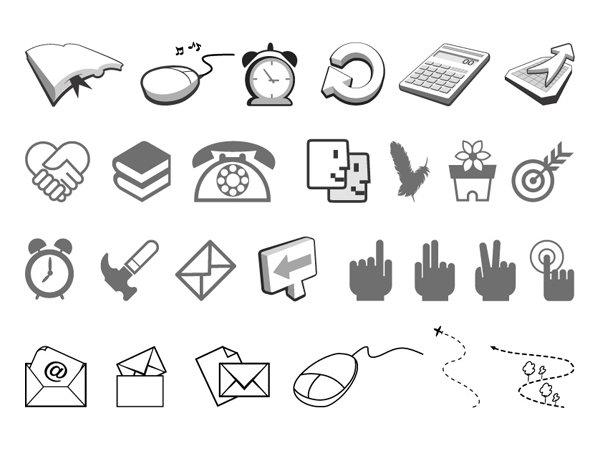 简洁 黑白 图标 矢量 书本 鼠标 闹钟 刷新 计算器 握手 心形 电话