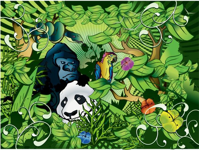 绿色丛林里的动物们矢量素材