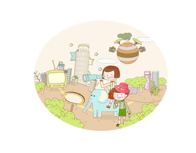 幼儿 幼儿园 插画 韩国插画 卡通插画 帽子 花朵 箭头 梦幻儿童 旅行