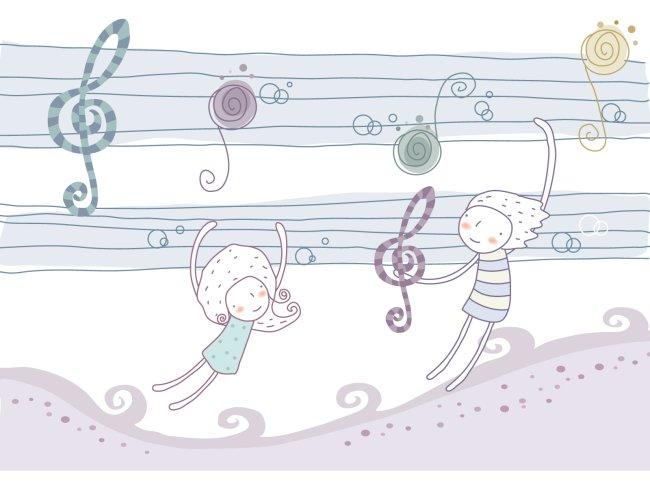 男孩 女孩 淡彩手绘风格插画 快乐音符