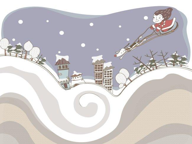 圣诞女孩 雪橇狗 淡彩手绘线条插画