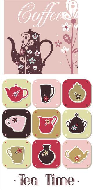漂亮的茶壶和茶杯