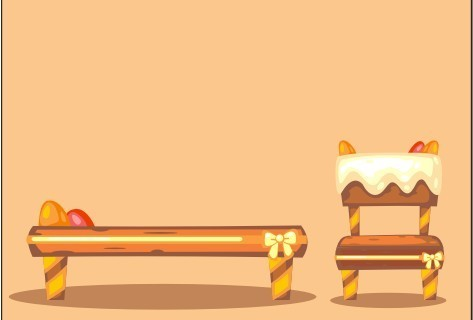 矢量卡通糖果桌子凳子