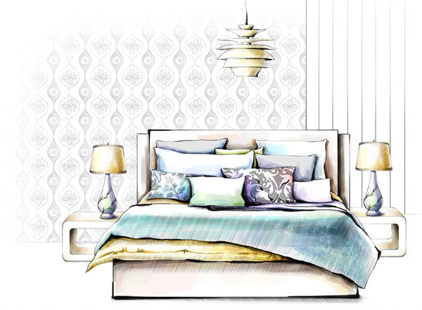 一点透视室内手绘图 枕头