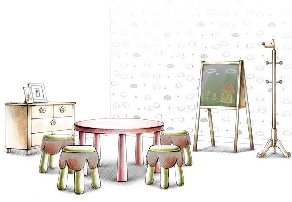 室内单体桌子手绘图片