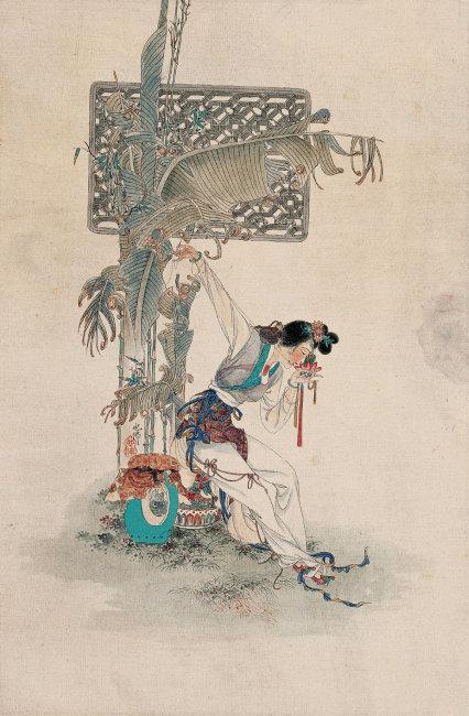 手绘古装织女素描