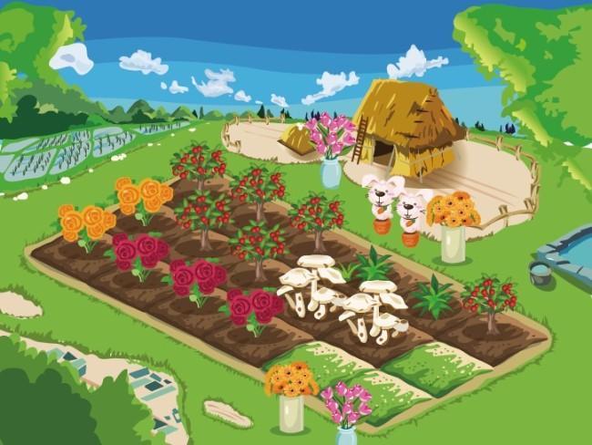 开心农场矢量图图片
