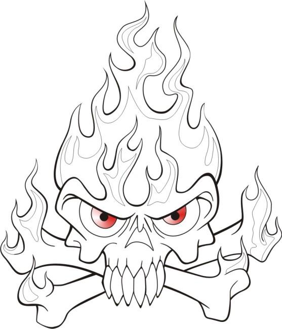 骷髅简笔画-火焰简笔