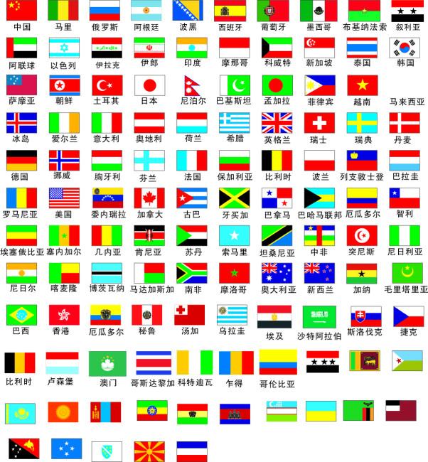 世界各地国旗矢量图片