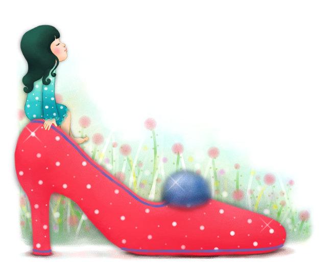 红色梦幻高跟鞋与卡通小女孩