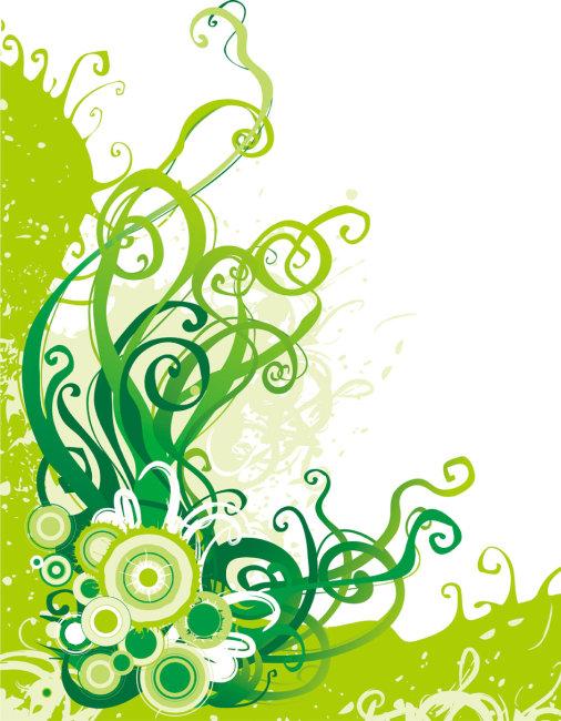 手绘森系小清新l绿色边框
