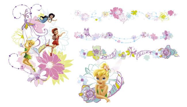 迪斯尼卡通 迪士尼动物 迪士尼字体 花 花纹 花朵 花边 花边边框 花纹