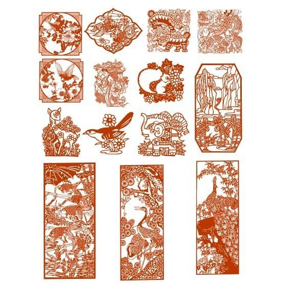 方形剪纸图案