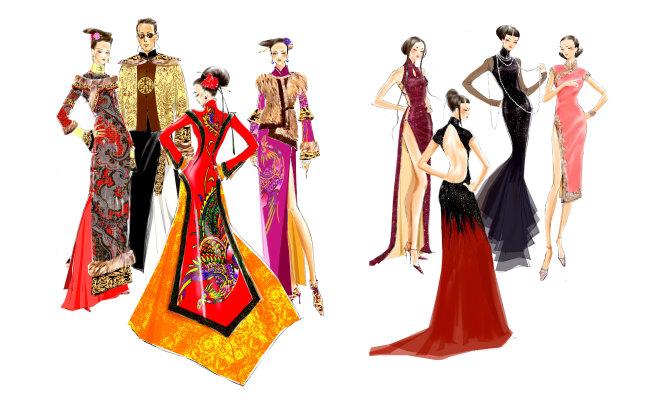服装设计效果图免费下载 服装设计手绘效果图片图片