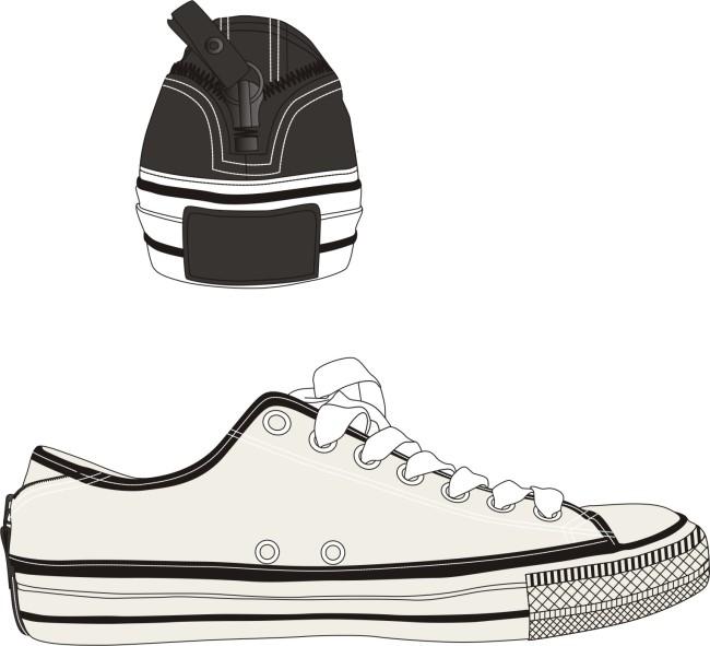 鞋子款式图帆布鞋 矢量素材 后跟有拉链 有后跟款式图
