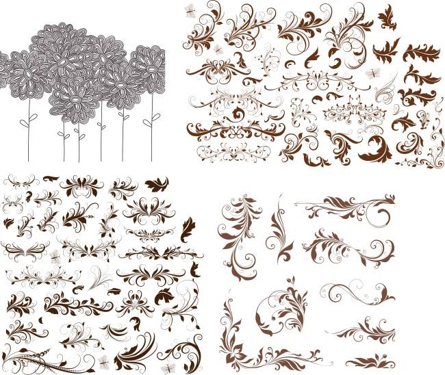花边 欧式边框 手绘花纹 潮流花纹 唯美花纹 简欧花纹 花草 植物 叶子