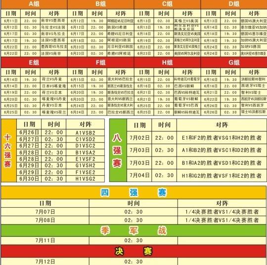 世界杯时间表