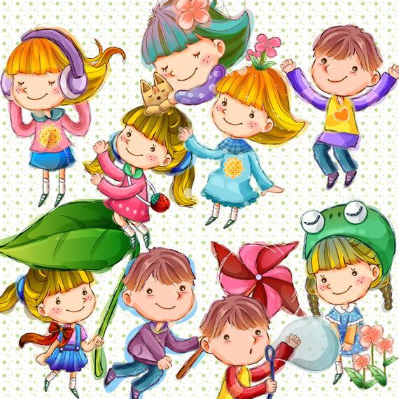 卡哇伊 手绘风格 手绘 可爱素材 卡通素材 卡通人物 可爱儿童 小伙伴