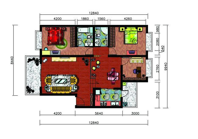 三室两厅彩色平面图