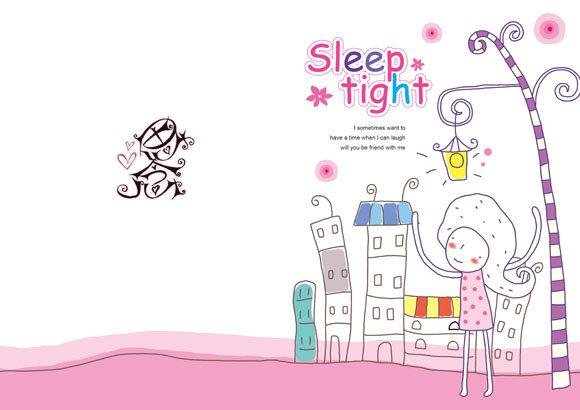 手绘卡通女孩 本本封面设计