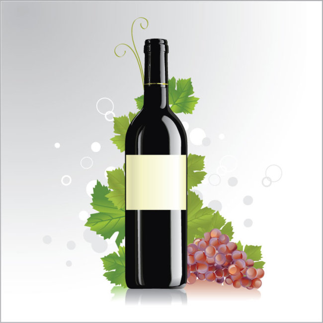 葡萄 叶子 干红酒瓶
