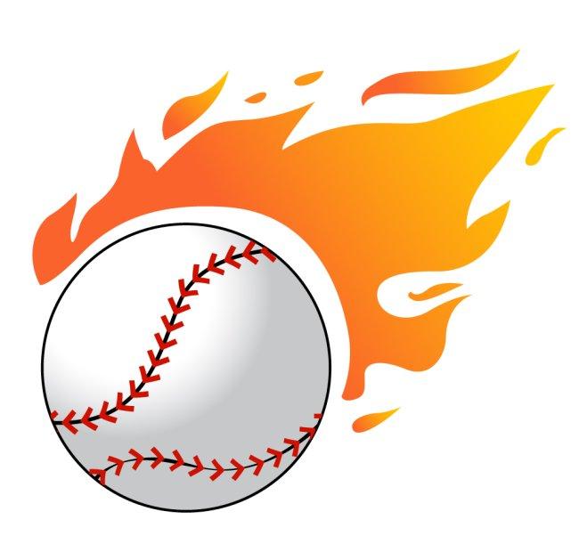 素材_火焰棒球矢量素材