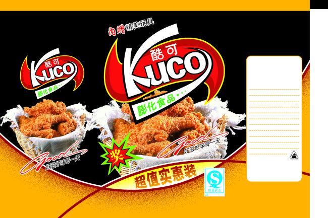 酷可膨化食品包装标签psd设计模板下载