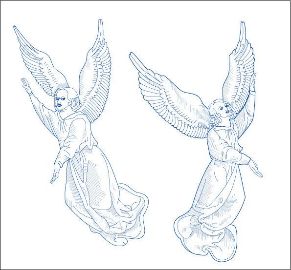 挥着翅膀的女孩手绘画