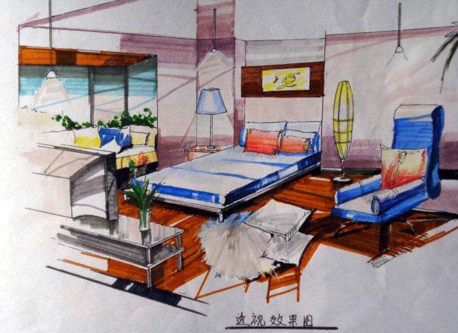 手绘卧室效果图