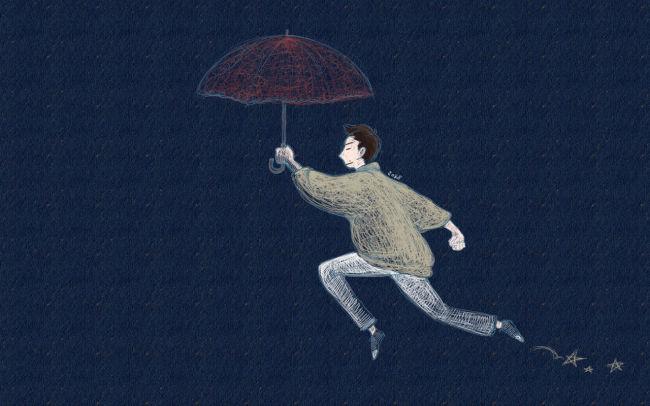 古风拿伞白发女子手绘