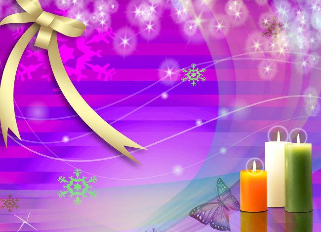 彩色蜡烛 蝴蝶 梦幻星星 飘带似光 彩色雪花 蝴蝶结 星光