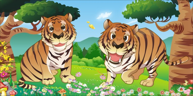 森林里的老虎卡通