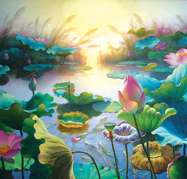 荷花免费下载 背景墙图片 荷花 莲花 蜻蜓 荷花 水
