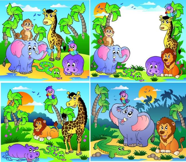 丛林动物场景矢量图模板下载矢量图 .