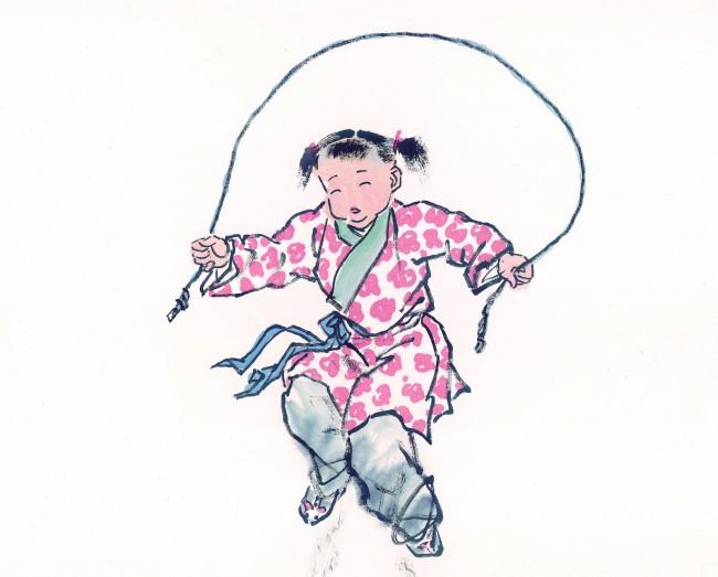 童子孩子中国国画古代人物图儿童小孩中国画国画跳绳