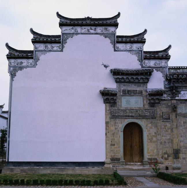 中国屋檐手绘黑白
