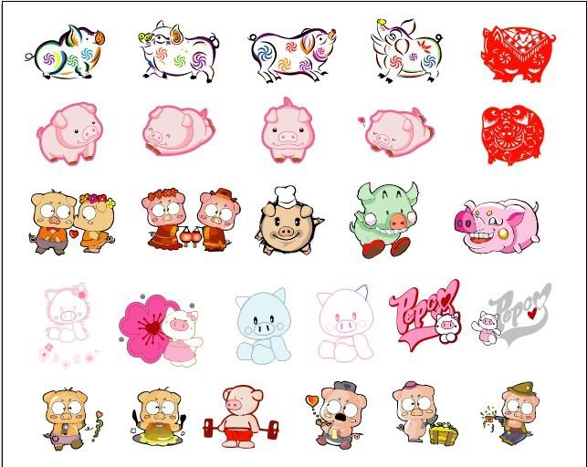 猪宝宝矢量图 可爱的小猪 小猪卡哇伊图 各种精美的小猪 矢量花纹