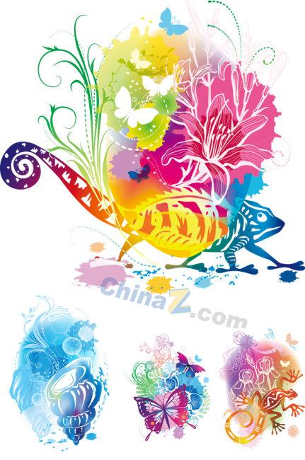 炫彩动物花纹矢量图 炫彩花纹 花边变色龙 蝴蝶海螺壁虎 百合绚丽