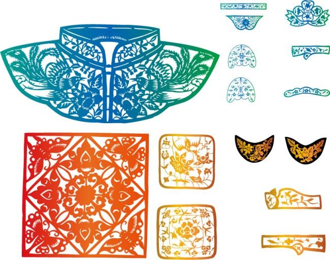 古典服饰花纹元素矢量素材图片