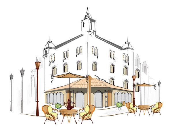 手绘欧式咖啡厅欧式