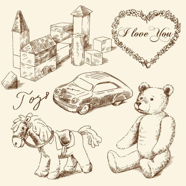 经典手绘童年玩具玩具熊