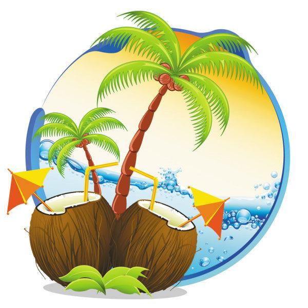 卡通椰子树海边图