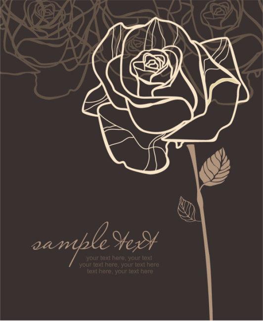 手绘线稿玫瑰花图案